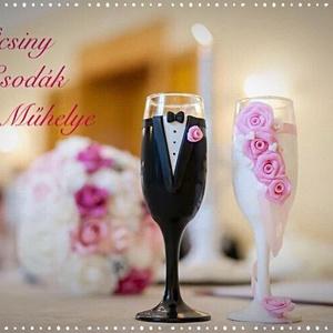 Esküvői pohár pár ., Tálalás, Dekoráció, Esküvő, Gyurma, Egyedi kézzel készített pohár pár csipke díszítéssel.\nBármilyen színösszeállításban kérhető.\nTalp ré..., Meska