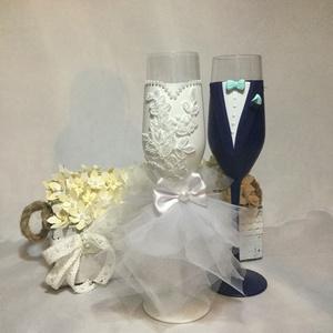 Csipke szerelem, Tálalás, Dekoráció, Esküvő, Gyurma, Festett tárgyak, Egyedi kézzel készített pohár pár.\nSüthető gyurmát használtam a díszítéshez.\nBármilyen színösszeállí..., Meska