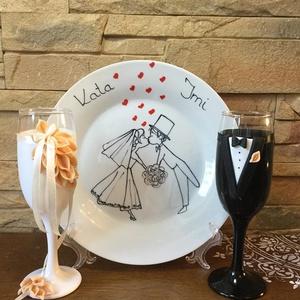 Csipke  szett, Tálalás, Dekoráció, Esküvő, Gyurma, Egyedi díszítéssel ellátott esküvői álom szett.\n\nSzerelmes pároknak eljegyzésre, esküvőre vagy egyéb..., Meska