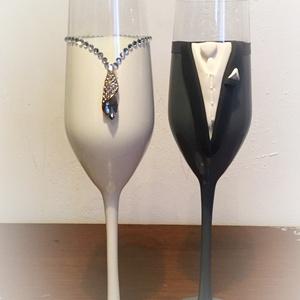 Szerelem esküvői pohár pár, Esküvő, Nászajándék, Esküvői dekoráció, Gyurma, Egyedi kézzel készített pohár pár.\nSüthető gyurmát használtam a díszítéshez.\nBármilyen színösszeállí..., Meska