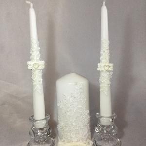 Esküvői gyertya szett, Esküvő, Esküvői dekoráció, Dekoráció, Otthon & lakás, Mindenmás, A szett tartalmazza a nagy és a két kísérő gyertyát.\nSzínek variálhatók., Meska