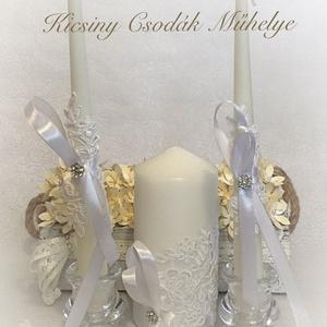 Esküvői gyertya szett, Gyertya & Gyertyatartó, Dekoráció, Esküvő, Mindenmás, A szett tartalmazza a nagy és a két kísérő gyertyát.\nSzínek variálhatók., Meska