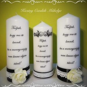 Emlék gyertya, Esküvő, Egyéb, Otthon & lakás, Esküvői dekoráció, Dekoráció, A felirat változtatható.  19*7,5 cm a gyertya Az ár 1 db gyertyára vonatkozik., Meska