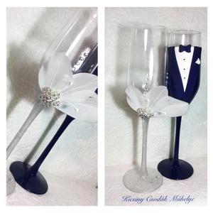 Pink rózsa esküvői pohár pár, Esküvő, Nászajándék, Gyurma, Egyedi kézzel készített pohár pár.\nSüthető gyurmát használtam a díszítéshez.\nBármilyen színösszeállí..., Meska