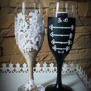 Vintage esküvői pohár pár, Esküvő, Nászajándék, Egyedi kézzel készített pohár pár. Süthető gyurmát használtam a díszítéshez. Bármilyen színösszeállí..., Meska
