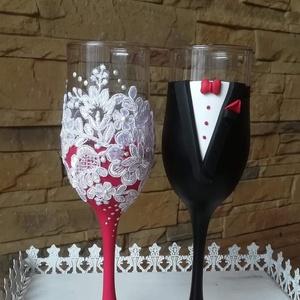 Esküvői pezsgős pohár pár, Tálalás, Dekoráció, Esküvő, Gyurma, Egyedi kézzel készített pohár pár.\nSüthető gyurmát használtam a díszítéshez.\nBármilyen színösszeállí..., Meska