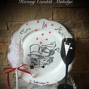 Szerelem Szett, Tálalás, Dekoráció, Esküvő, Gyurma, Egyedi kézzel készített pohár pár normál méretű tányérral.\nA szett megbontható!\nSüthető gyurmát hasz..., Meska