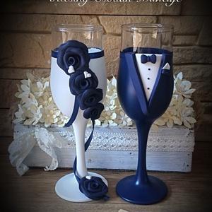 Rózsa varázs 4., Tálalás, Dekoráció, Esküvő, Gyurma, Egyedi kézzel készített pohár pár.\nSüthető gyurmát használtam a díszítéshez.\nBármilyen színösszeállí..., Meska