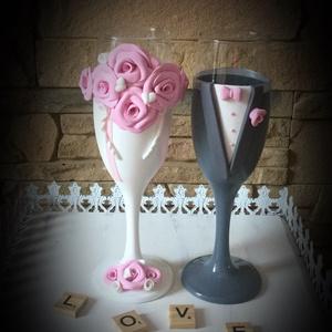 Rózsa varázs 5, Tálalás, Dekoráció, Esküvő, Gyurma, Egyedi kézzel készített pohár pár.\nSüthető gyurmát használtam a díszítéshez.\nBármilyen színösszeállí..., Meska
