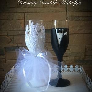 Szerelem esküvői pohár pár, Tálalás, Dekoráció, Esküvő, Gyurma, Egyedi kézzel készített pohár pár.\nSüthető gyurmát használtam a díszítéshez.A csipke mintája változh..., Meska