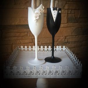 Szerelem esküvői pohár pár, Tálalás, Dekoráció, Esküvő, Gyurma, Egyedi kézzel készített pohár pár.\nSüthető gyurmát használtam a díszítéshez.\nBármilyen színösszeállí..., Meska