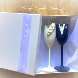 Esküvői Pezsgős pohár pár, Tálalás, Dekoráció, Esküvő, Gyurma, Egyedi kézzel készített pohár pár díszdobozzal.\nSüthető gyurmát, és csipkét  használtam a díszítéshe..., Meska