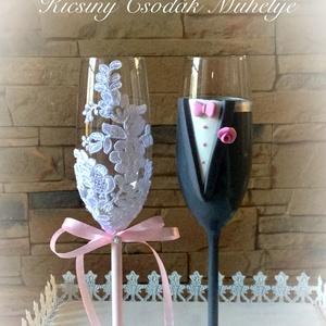 Szerelem esküvői pohár pár, Tálalás, Dekoráció, Esküvő, Gyurma, Egyedi kézzel készített pohár pár csipke díszítéssel.\nBármilyen színösszeállításban kérhető.\nTalp ré..., Meska