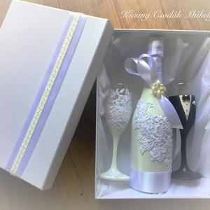 Csipke álom esküvői  szett , Asztaldísz, Dekoráció, Esküvő, Gyurma, Egyedi díszítéssel ellátott esküvői álom szett.\n\nSzerelmes pároknak eljegyzésre, esküvőre vagy egyéb..., Meska