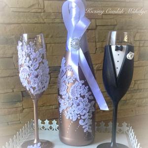 Gold roses csipk esküvői pezsgő szett , Tálalás, Dekoráció, Esküvő, Gyurma, Egyedi díszítéssel ellátott esküvői álom szett.\n\nSzerelmes pároknak eljegyzésre, esküvőre vagy egyéb..., Meska