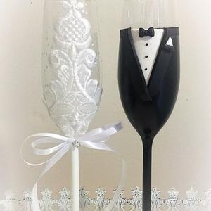 Csipke szerelem, Tálalás, Dekoráció, Esküvő, Gyurma, Egyedi kézzel készített pohár pár.\nSüthető gyurmát ,és csipkét használtam a díszítéshez.\nBármilyen s..., Meska