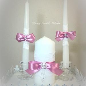 Esküvői gyertya szett, Esküvő, Esküvői dekoráció, Egyéb, Otthon & lakás, Dekoráció, Gyertya-, mécseskészítés, Az összetartozást és az új egység létrejöttét szimbolizálja a közös gyertyagyújtás az esküvőn.❤️..., Meska