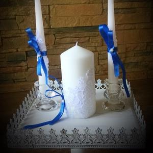 Esküvői gyertya szett, Gyertya & Gyertyatartó, Dekoráció, Esküvő, Gyertya-, mécseskészítés, Az összetartozást és az új egység létrejöttét szimbolizálja a közös gyertyagyújtás az esküvőn.❤️..., Meska