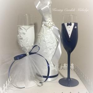 Csipke varázs esküvői pezsgő szett, Tálalás, Dekoráció, Esküvő, Gyurma, Egyedi díszítéssel ellátott esküvői álom szett.\n\nSzerelmes pároknak eljegyzésre, esküvőre vagy egyéb..., Meska