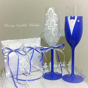Szerelem esküvői pohár pár, Tálalás, Dekoráció, Esküvő, Gyurma, Egyedi kézzel készített pohár pár,hozzá illő gyűrű párnával.\nA szett megbontható!\nSüthető gyurmát ha..., Meska