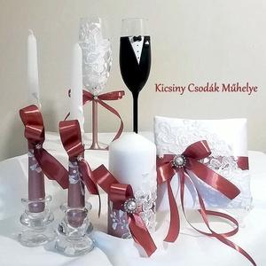 Csipk esküvői  szett , Esküvői szett, Esküvő, Gyurma, Egyedi díszítéssel ellátott esküvői álom szett.\n\nSüthető gyurmát, és csipkét használtam a díszítéshe..., Meska