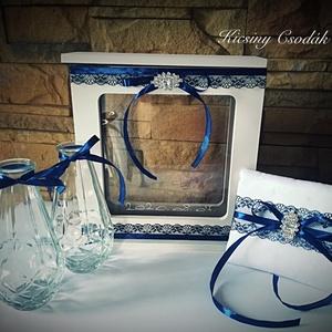 Homok ceremónia, Esküvő, Esküvői dekoráció, Gyűrűpárna, Mindenmás, Homoköntő szett képkeret formájában.\nEsküvői homokszóró szett képkeret formájában.\n\nKérésre a színek..., Meska