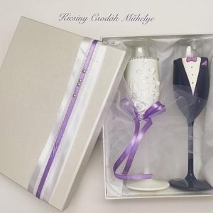 Lila csipke esküvői pohár pár, Esküvő, Gyurma, Egyedi kézzel készített pohár pár díszdobozzal.\nSüthető gyurmát használtam a díszítéshez csipkével.\n..., Meska