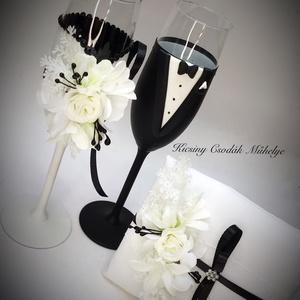 Black White pohár pár gyűrűpárnával., Esküvő, Dekoráció, Tálalás, Gyurma, Egyedi kézzel készített pohár pár,hozzá illő gyűrű párnával.\nA szett megbontható!\nSüthető gyurmát ha..., Meska