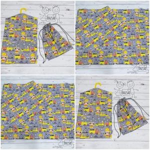 Munkagépes ovis vagy kisgyermek ágyneműhuzat szett + ovizsák tornazsák szett, Játék & Gyerek, Ovis zsák & Ovis szett, Óvodai szett, Varrás, Ovis / kisgyermek ágyneműhuzat szett munkagép mintával.\n\nMéretei:\n- Paplanhuzat: 90 * 135 cm\n- Párna..., Meska