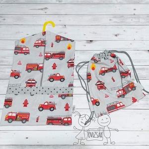 Tűzoltó autós ovizsák és tornazsák szett, Játék & Gyerek, Ovis zsák & Ovis szett, Ovis zsák, Varrás, Szürke ovizsák (ovis zsák) és tornazsák szett, tűzoltó autó mintával.\n\nMéretei:\n- Ovizsák: 36*55 cm\n..., Meska