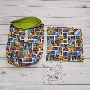 Uzsonnás zsák textilszalvétával - szuperhős mintás, Táska & Tok, Bevásárlás & Shopper táska, Kenyeres zsák, Varrás, Meska