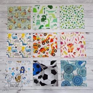 Textil szavéta / újraszalvéta, többféle minta - zerowaste / nowaste, Táska & Tok, Ovi- és sulikezdés, Uzsonna- & Ebéd tartó, Szendvics csomagoló, Textil, többször használható szalvéta, kívül mintás pamutvászon, belül színes vízhatlan, lélegző PUL..., Meska