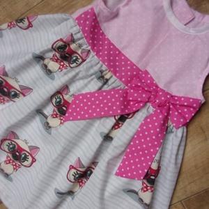 AKCIÓ! Lányka ruha, nyári ruha, masnis ruha, cicás, Ruha & Divat, Babaruha & Gyerekruha, Ruha, Varrás, 104-es méret. 3 éves gyerekekre ajánlom. Hátulgombolós, prémium minőségű pamutból készült. Cica mint..., Meska