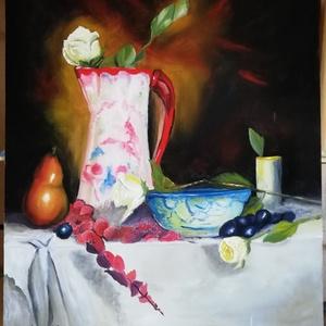 Asztali csendélet porcelánkancsóval., Otthon & lakás, Képzőművészet, Festmény, Olajfestmény, Dekoráció, Kép, Napi festmény, kép, Festészet, Festett tárgyak, Saját alkotás. Ezt a képet tanulmányaim során festettem belevíve saját egyediségemet is. A festmény ..., Meska