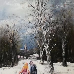 Szánkozó gyerekek, Otthon & lakás, Képzőművészet, Festmény, Olajfestmény, Dekoráció, Kép, Festészet, Mindenmás, A téli tájakat ábrázoló sorozatból való ez a festményem. Szánkozásból hazatérő gyerekeket ábrázol. A..., Meska