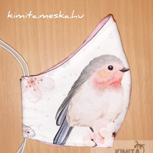 Női maszk, szájmaszk, arcmaszk - madárkás, NoWaste, Textilek, Táska, Divat & Szépség, Ruha, divat, Szépség(ápolás), Kendő, Kendő, Maszk, szájmaszk, Varrás, Női maszk, arcmaszk, szájmaszk -íves - madárkás\n\nDupla rétegű arcmaszk. 100 % pamutvászon anyagból k..., Meska