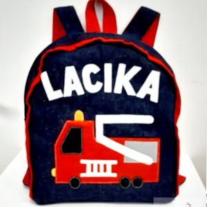 TŰZOLTÓS hátizsák piros, Játék & Gyerek, Ovis zsák & Ovis szett, Ovis hátizsák, Varrás, Tűzoltó autó mintás hátizsák \n\nÓvodás, bölcsődés gyerekeknek\n\nFarmer hátizsák, pamut béléssel, filcb..., Meska