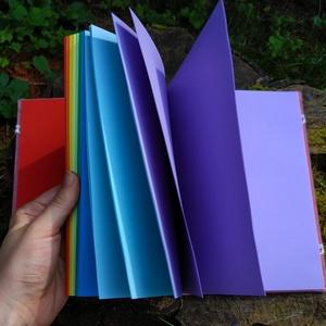 Szivárványos könyv, Művészet, Más művészeti ág, Könyvkötés, A5-ös méretű, rózsaszín, csipkével díszített borítójú, színes, szivárvány sorrendeben kötött lapos é..., Meska