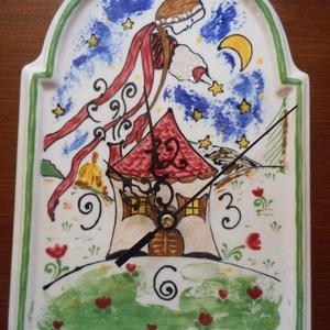 Csillaglány - Kerámia óra, Otthon & lakás, Lakberendezés, Falióra, óra, Kerámia, Egyedi, kerámia grafikával díszített óra.\nMéret: 16x22,5cm, Meska