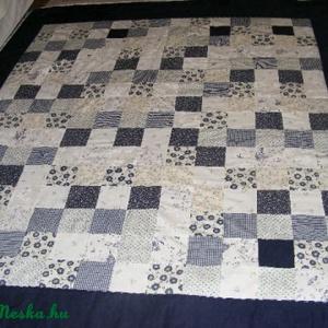 patchwork takaró,kék virágos - Meska.hu
