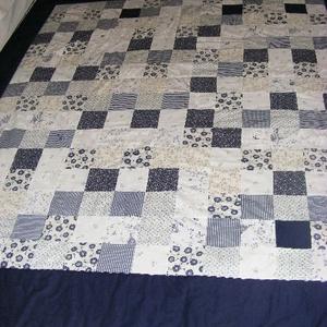 patchwork takaró,kék virágos - otthon & lakás - lakástextil - ágytakaró - Meska.hu