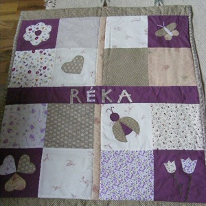 Lilás-drappos patchwork takaró, névre szóló, Otthon & Lakás, Ágytakaró, Lakástextil, Varrás, Patchwork, foltvarrás, Meska