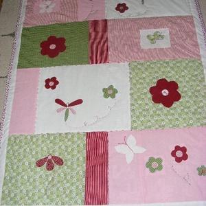 patchwork takaró, pillangóval, virágokkal, Otthon & Lakás, Ágytakaró, Lakástextil, Varrás, Patchwork, foltvarrás, Meska