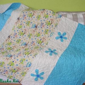 patchwork  takaró, bagoly mintás, falvédőnek is megfelel, türkiz (kincsesmomka) - Meska.hu