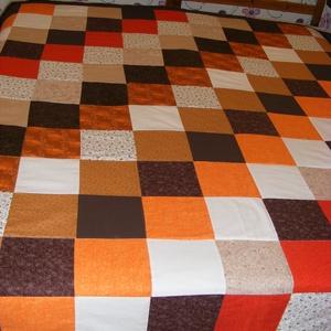 patchwork takaró apró kockákból, sárga, narancs, Lakberendezés, Otthon & lakás, Lakástextil, Takaró, ágytakaró, Varrás, Patchwork, foltvarrás, Egyedi készítésű takaró\nméret:180x120cm\nEz a takaró alkalmas ágy letakarására és takarózásra is. . A..., Meska
