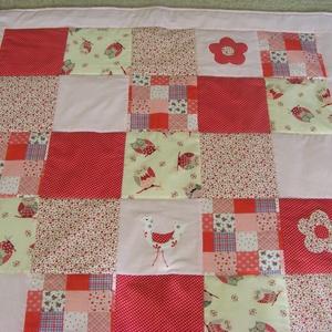 patchwork  takaró, piros-pöttyös, bagoly mintás - otthon & lakás - lakástextil - takaró - Meska.hu