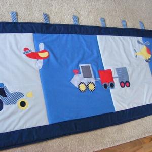 Járműves patchwork falvédő, takaró járművekkel kék, Otthon & Lakás, Takaró, Lakástextil, Patchwork, foltvarrás, Meska