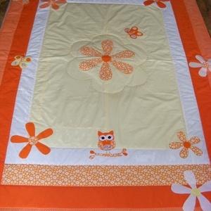 Narancssárga patchwork falvédő, takaró bagoly és virág applikációval, Lakberendezés, Otthon & lakás, Lakástextil, Falvédő, Takaró, ágytakaró, Varrás, Patchwork, foltvarrás, Egy hasznos takaró lányoknak\nméret: 200x120cm\nEz a takaró alkalmas ágy letakarására és takarózásra i..., Meska