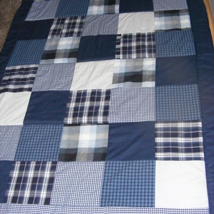 Kék patchwork takaró kockákból fiúknak, Otthon & Lakás, Lakástextil, Takaró, Varrás, Patchwork, foltvarrás, Meska