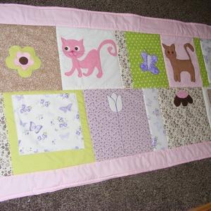 Cicás patchwork takaró, sok cica, Takaró, Lakástextil, Otthon & Lakás, Varrás, Mérete: 160x80cm. \n\nHa más színben, vagy méretben kérnéd, írd meg. , Meska
